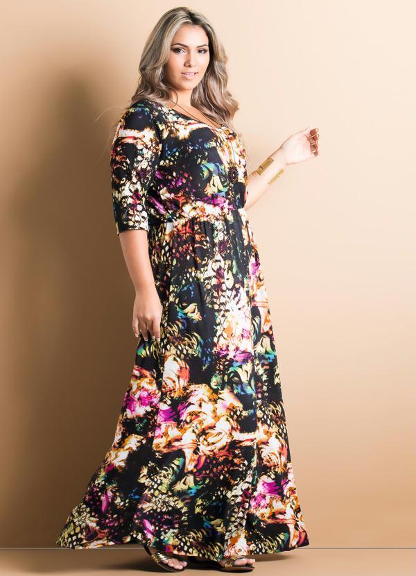 vestido longo plus size manga 3/4