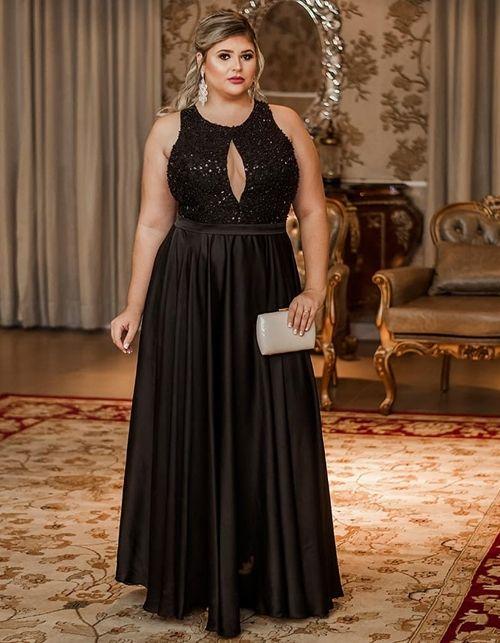 vestido para festa plus size longo preto