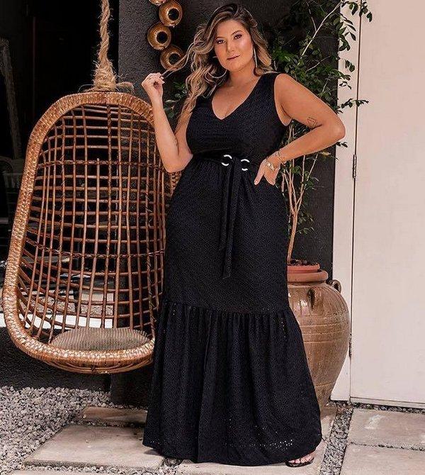 vestido plus size longo preto 2021