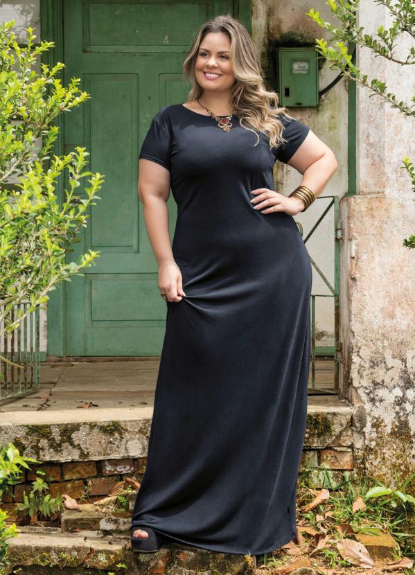 vestido plus size longo preto
