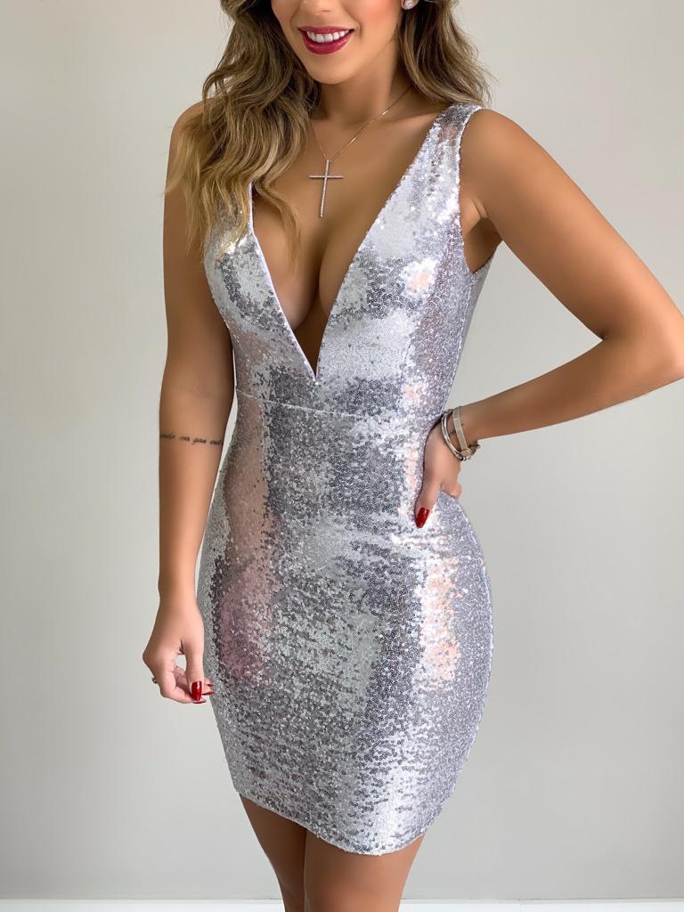 vestido tubinho de paetê 2021