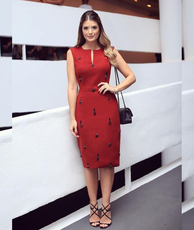 vestido tubinho social vermelho 2021