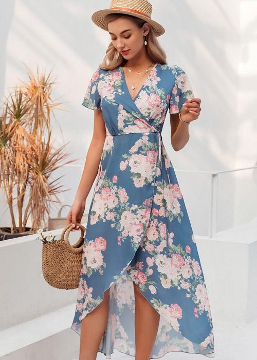 wrap dress estampado