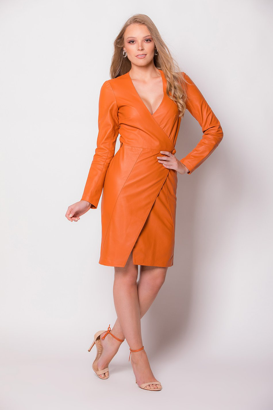 wrap dress laranja