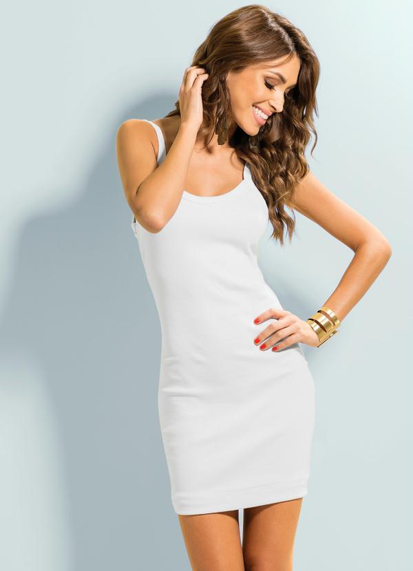 Vestido branco curto com alças