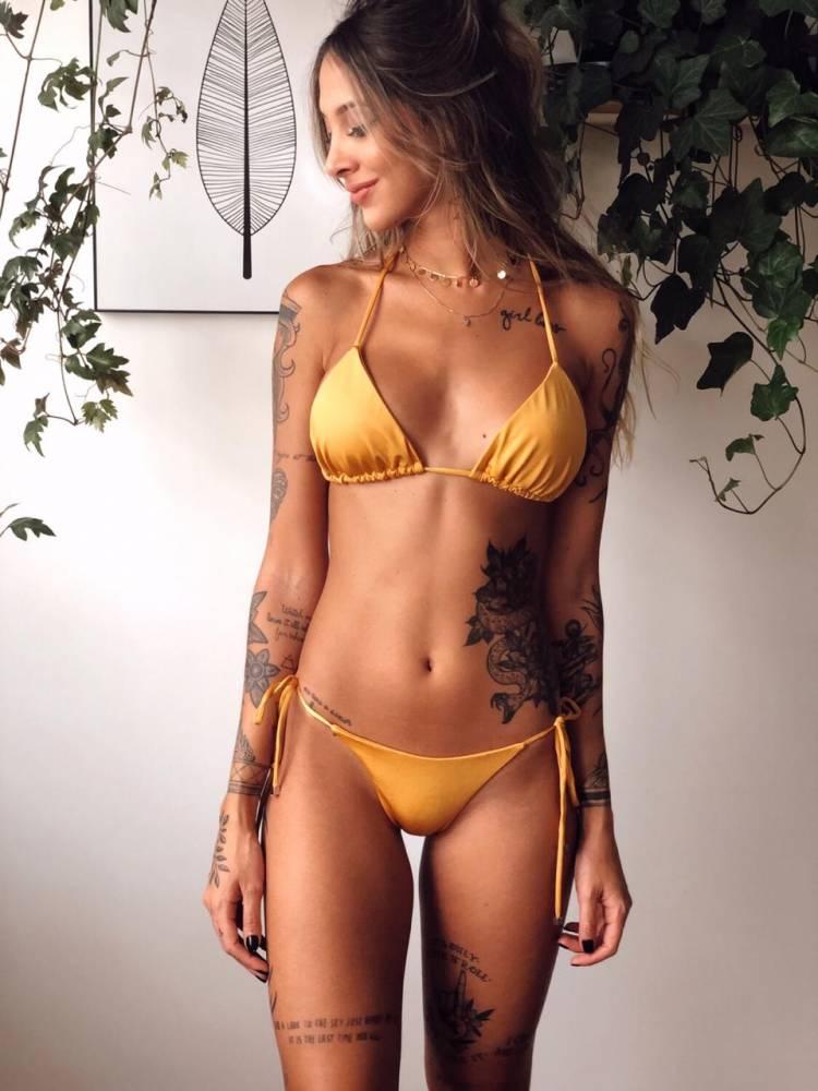 biquíni cortininha amarelo