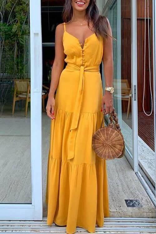 Vestido amarelo longo