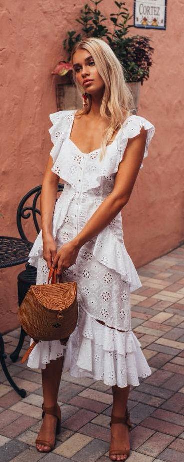 vestido branco midi boho