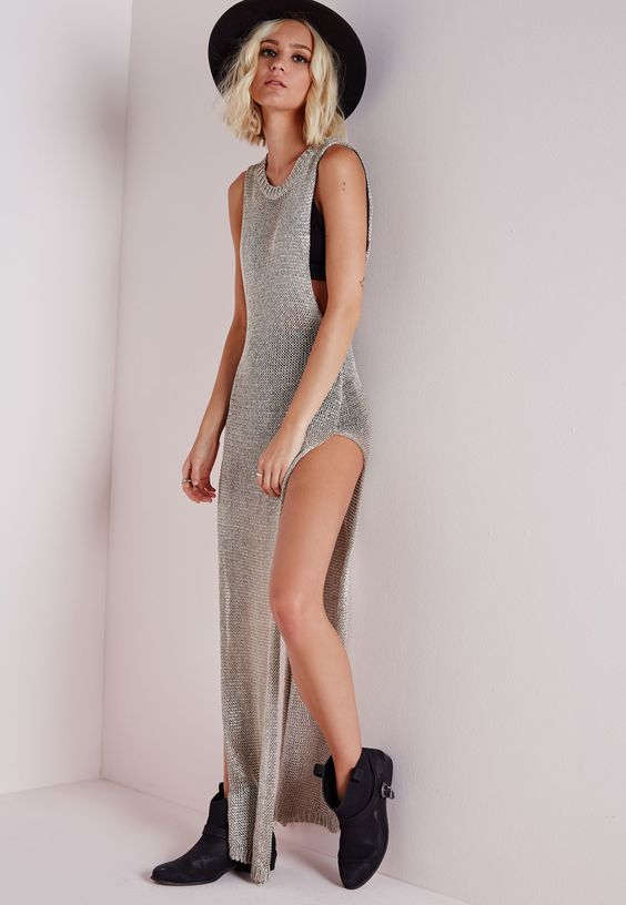 vestido de lurex prateado