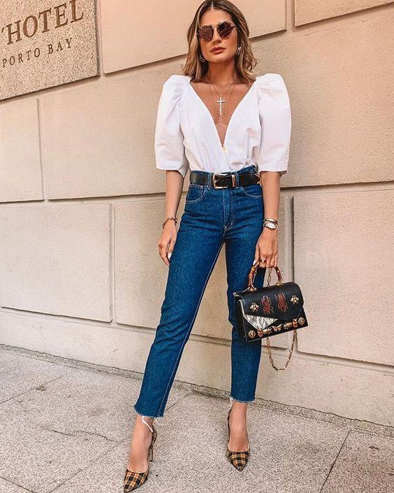 visual com calça jeans para ano novo