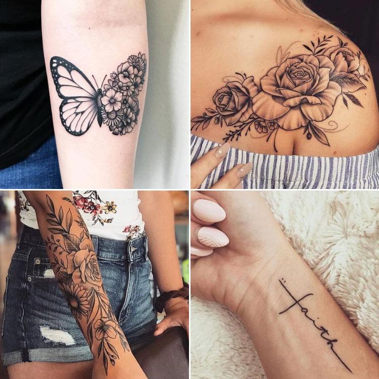 opções de tatuagens femininas