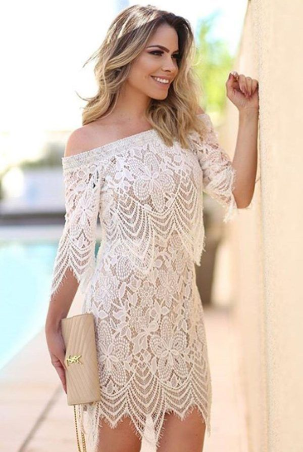 vestido curto rendado