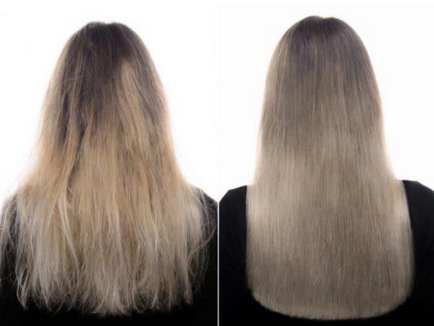 Cauterização capilar antes e depois