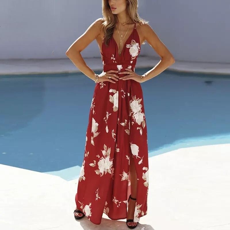Vestido longo vermelho com estampa