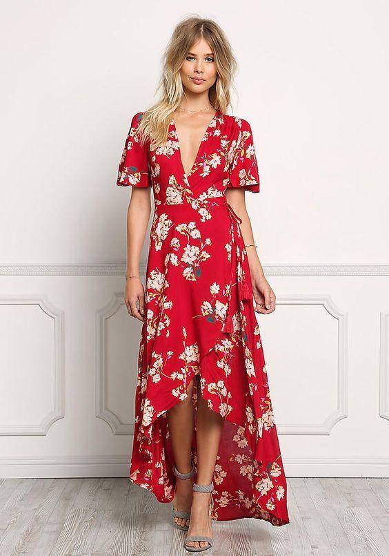 Vestido vermelho com estampa