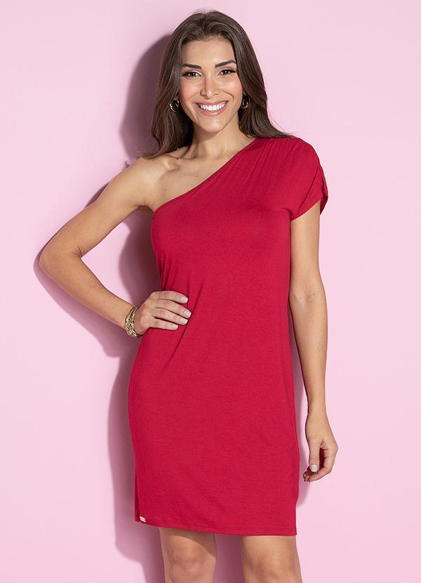 Vestido vermelho curto de um ombro só