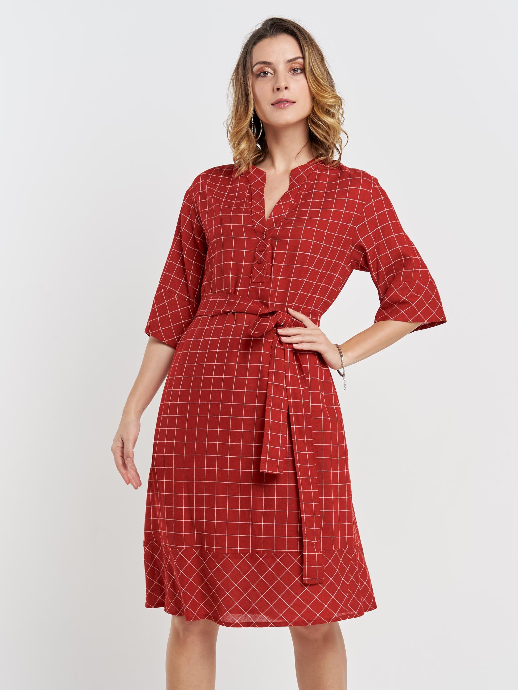 Vestido vermelho estampado