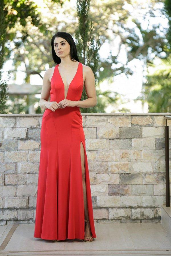 Vestido vermelho longo com fenda