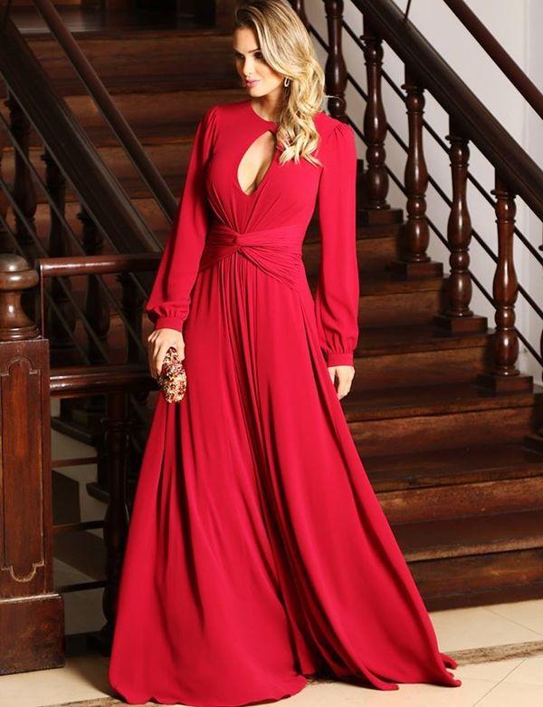 Vestido vermelho longo manga longa