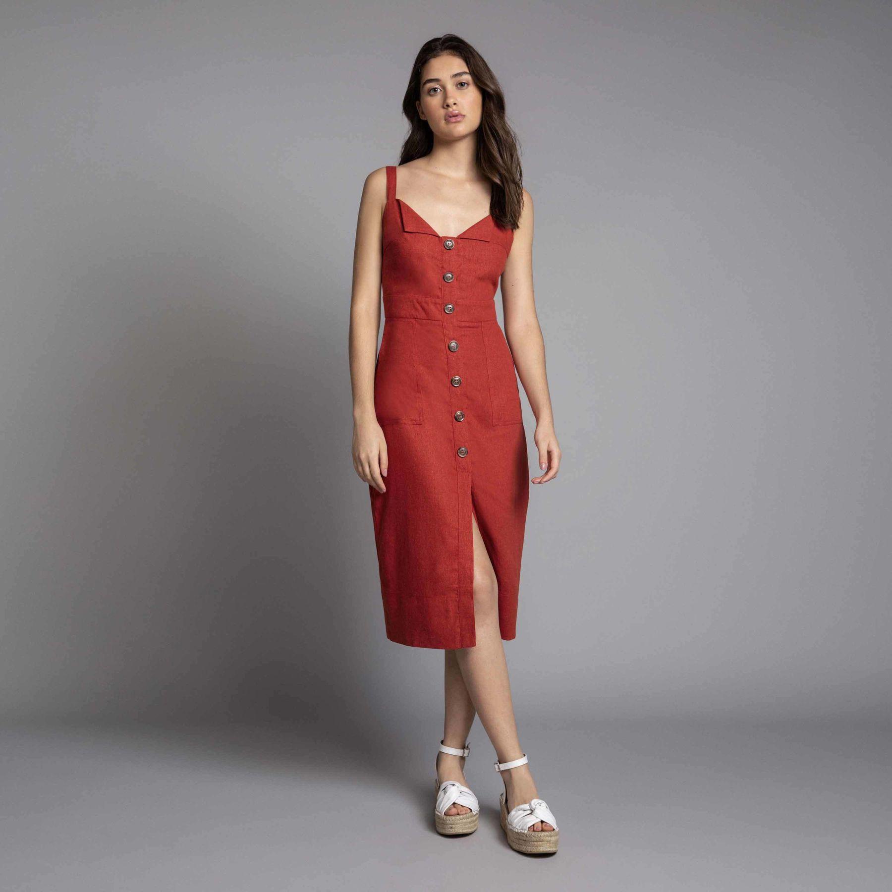 Vestido vermelho midi com botões