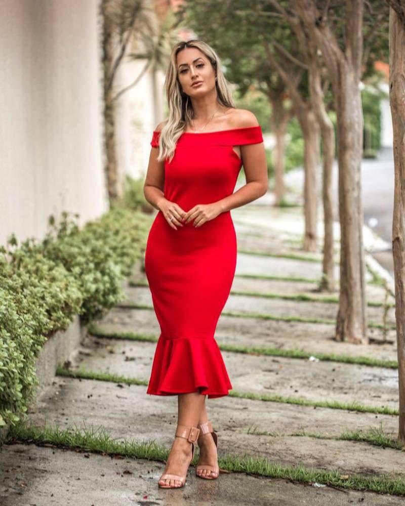 Vestido vermelho midi tomara que caia