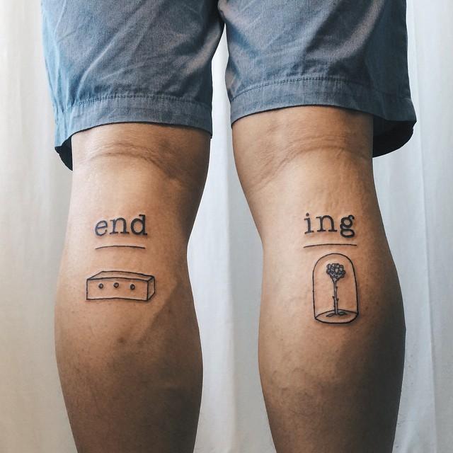 tatuagem simples na perna