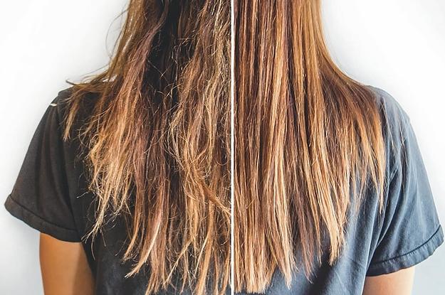 cabelo ressecado e hidratado antes e depois