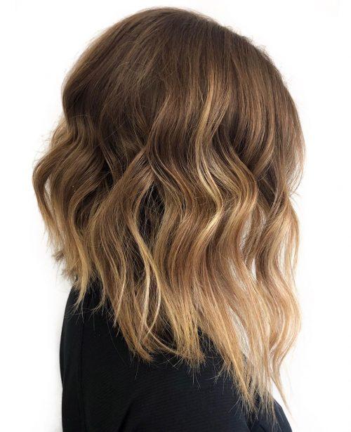 long bob em cabelo ondulado